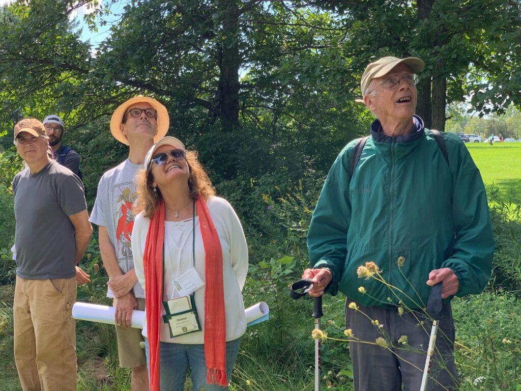 VTIPL Board member (on right) Harris Webster , Coordinator Donna Roberts & friends appreciating the great Mossy Cup Oak tree!